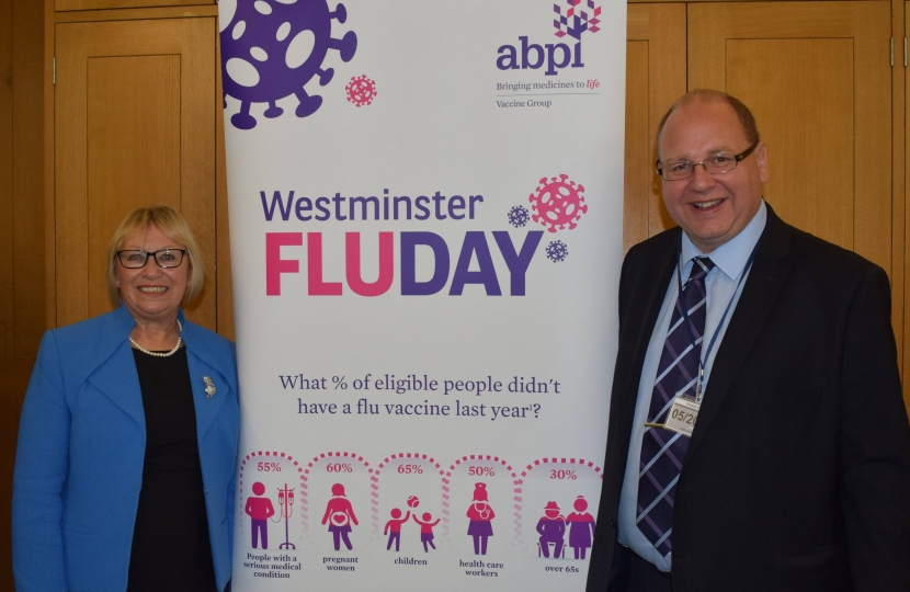 Sheryll and Bob at the flu vaccination event in Westminster.