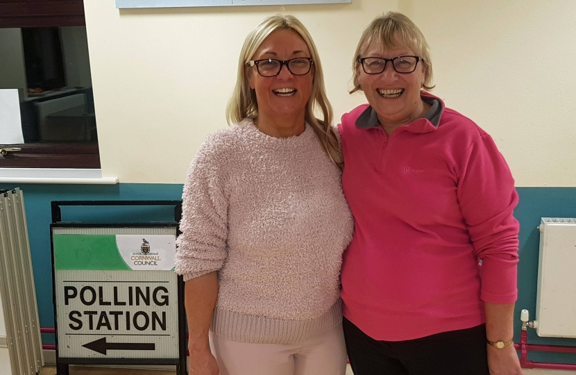 Sheryll Murray MP with Sheila Lennox-Boyd at the count